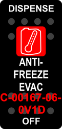 """DISPENSE ANTI-FREEZE EVAC"" Black Switch Cap single Red Lens ON-OFF"