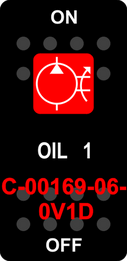 """""""OIL 1""""  Black Switch Cap single Red Lens  ON-OFF"""