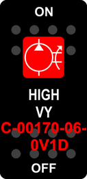 """""""HIGH VY""""   Black Switch Cap single Red Lens  ON-OFF"""