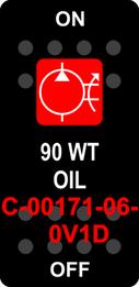 """90 WT OIL""  Black Switch Cap single Red Lens  ON-OFF"