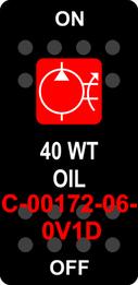 """40 WT OIL""  Black Switch Cap single Red Lens  ON-OFF"