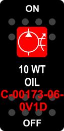 """10 WT OIL""  Black Switch Cap single Red Lens  ON-OFF"