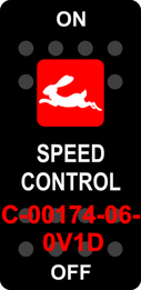 """""""SPEED CONTROL"""" Black Switch Cap single Red Lens   ON-OFF"""