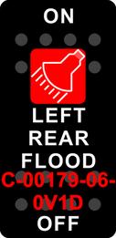 """LEFT REAR FLOOD""  Black Switch Cap single Red Lens  ON-OFF"