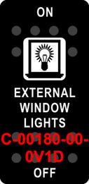"""EXTERNAL WINDOW LIGHTS""  Black Switch Cap single White Lens ON-OFF"