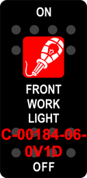"""FRONT WORK LIGHT""  Black Switch Cap single Red Lens  ON-OFF"