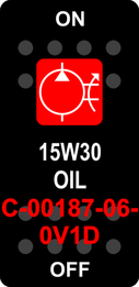 """15W30 OIL""  Black Switch Cap single Red Lens  ON-OFF"