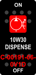 """10W30 DISPENSE""  Black Switch Cap single Red Lens  ON-OFF"