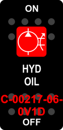 """HYD OIL""  Black Switch Cap single Red Lens  ON-OFF"