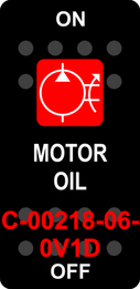 """MOTOR OIL""  Black Switch Cap single Red Lens  ON-OFF"