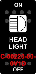 """HEAD LIGHT""  Black Switch Cap single White Lens  ON-OFF"