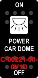 """POWER CAR DOME""  Black Switch Cap single White Lens  ON-OFF"