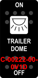 """TRAILER DOME""  Black Switch Cap single White Lens  ON-OFF"