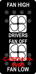"""DRIVERS FAN HIGH LOW OFF""  Black Switch Cap dual White Lens  ON-OFF-ON"