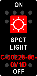 """SPOT LIGHT"" Black Switch Cap single Red Lens ON-OFF"