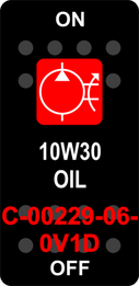 """10W30 OIL"" Black Switch Cap single Red Lens ON-OFF"