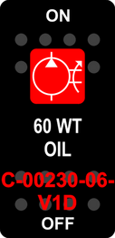 """60WT OIL"" Black Switch Cap single Red Lens ON-OFF"