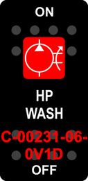 """HP WASH"" Black Switch Cap single Red Lens ON-OFF"
