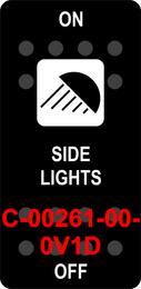 """SIDE LIGHTS""  Black Switch Cap single White Lens  ON-OFF"