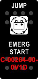"""""""JUMP EMERG START""""  Black Switch Cap single White Lens"""