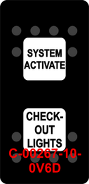 """""""SYSTEM ACTIVATE CHECKOUT LIGHTS""""  Black Switch Cap dual White Lens ON-OFF-ON"""