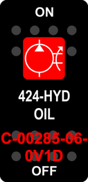 """""""424 HYD OIL""""  Black Switch Cap single Red Lens ON-OFF"""