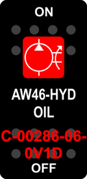 """""""AW46 HYD OIL""""  Black Switch Cap single Red Lens ON-OFF"""