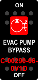 """EVAC PUMP BYPASS""  Black Switch Cap single Red Lens ON-OFF"