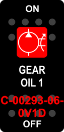 """GEAR OIL 1""  Black Switch Cap single Red Lens ON-OFF"
