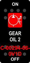 """GEAR OIL 2""  Black Switch Cap single Red Lens ON-OFF"