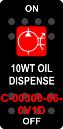 """10WT OIL DISPENSE""  Black Switch Cap single Red Lens ON-OFF"