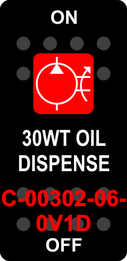 """30WT OIL DISPENSE""  Black Switch Cap single Red Lens ON-OFF"