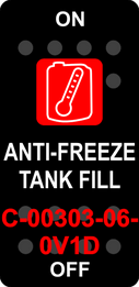"""ANTI-FREEZE TANK FILL""  Black Switch Cap single Red Lens ON-OFF"