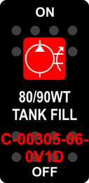 """80/90WT TANK FILL""  Black Switch Cap single Red Lens ON-OFF"