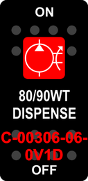 """80/90WT DISPENSE""  Black Switch Cap single Red Lens ON-OFF"