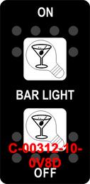 """BAR LIGHT""  Black Switch Cap dual White Lens  (ON)-OFF-(ON)"