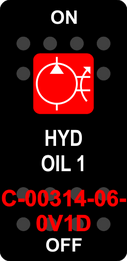 """""""HYD OIL 1""""  Black Switch Cap single Red Lens ON-OFF"""