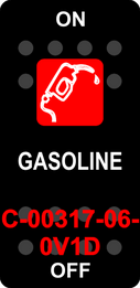 """""""GASOLINE""""  Black Switch Cap single Red Lens ON-OFF"""