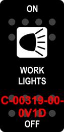 """WORK LIGHTS""  Black Switch Cap single White Lens  ON-OFF"