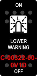 """LOWER WARNING""  Black Switch Cap single White Lens  ON-OFF"