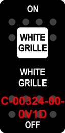 """""""WHITE GRILLE""""  Black Switch Cap single White Lens  ON-OFF"""