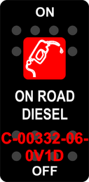 """ON ROAD DIESEL""  Black Switch Cap single Red Lens  ON-OFF"