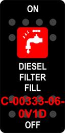"""DIESEL FILTER FILL""  Black Switch Cap single Red Lens  ON-OFF"