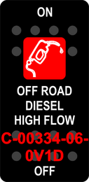 """OFF ROAD DIESEL HIGH FLOW""  Black Switch Cap single Red Lens  ON-OFF"