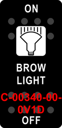 """BROW LIGHT""  Black Switch Cap single White Lens  ON-OFF"