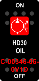 """HD30 OIL""  Black Switch Cap single Red Lens  ON-OFF"
