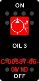 """OIL 3""  Black Switch Cap single Red Lens ON-OFF"
