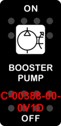 """BOOSTER PUMP""  Black Switch Cap single White Lens  ON-OFF"