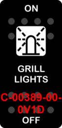 """GRILL LIGHTS""  Black Switch Cap single White Lens  ON-OFF"