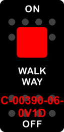 """WALK WAY""  Black Switch Cap single Red Lens  ON-OFF"